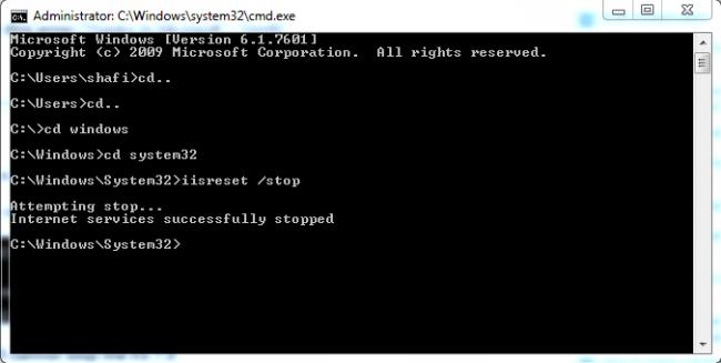 Stop IIS In Windows