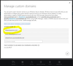 Azure Manage Domain