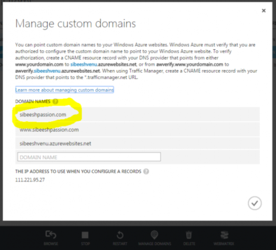 Azure Manage Domain