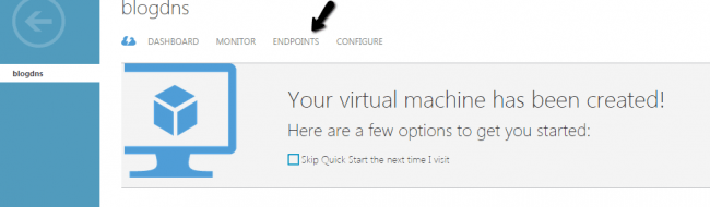 Adding end points in Azure Virtual Machine