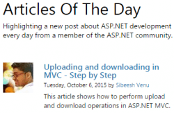 Microsoft Asp.Net Articles Of The Day Oct-6-2015