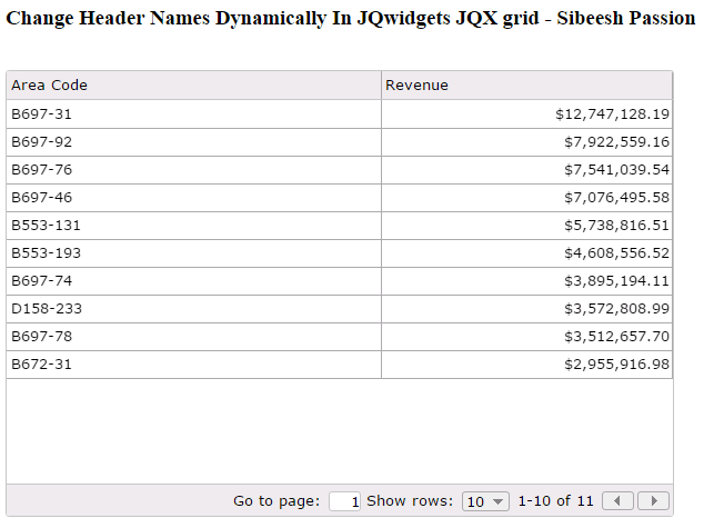Change Header Names Dynamically In JQwidgets JQX grid