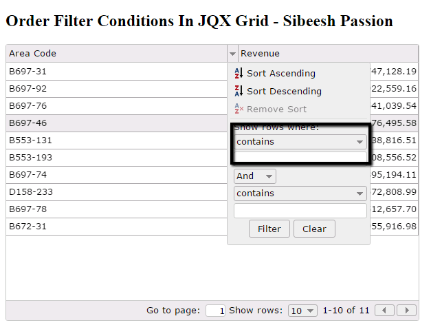 Order Filter Conditions In jQWidget JQX Grid