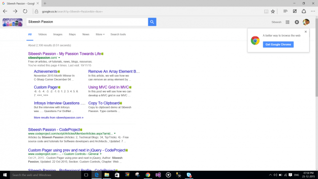 Browser search result in Windows 10 Edge