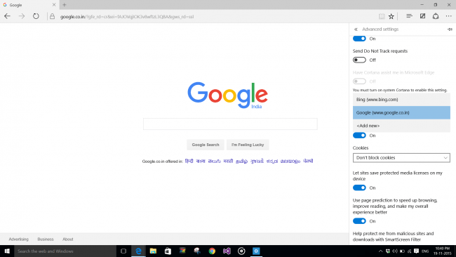 Google As Search Provider In Edge