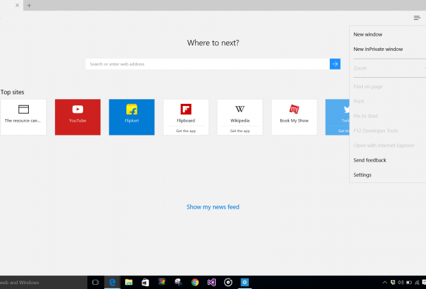 Open Edge Browser in Windows 10