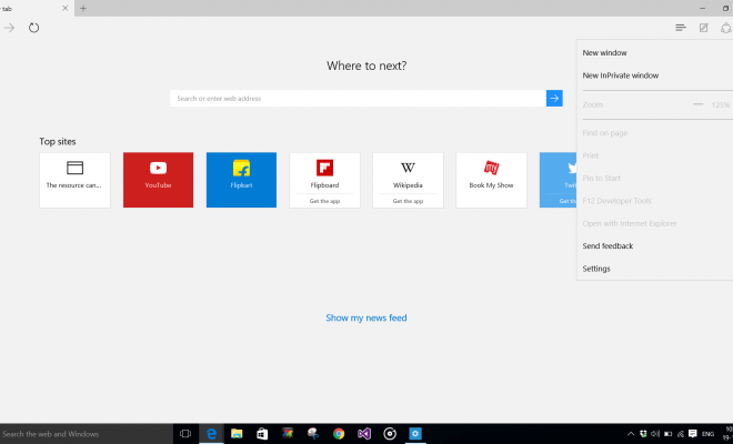 Open Edge Browser in Windows 10