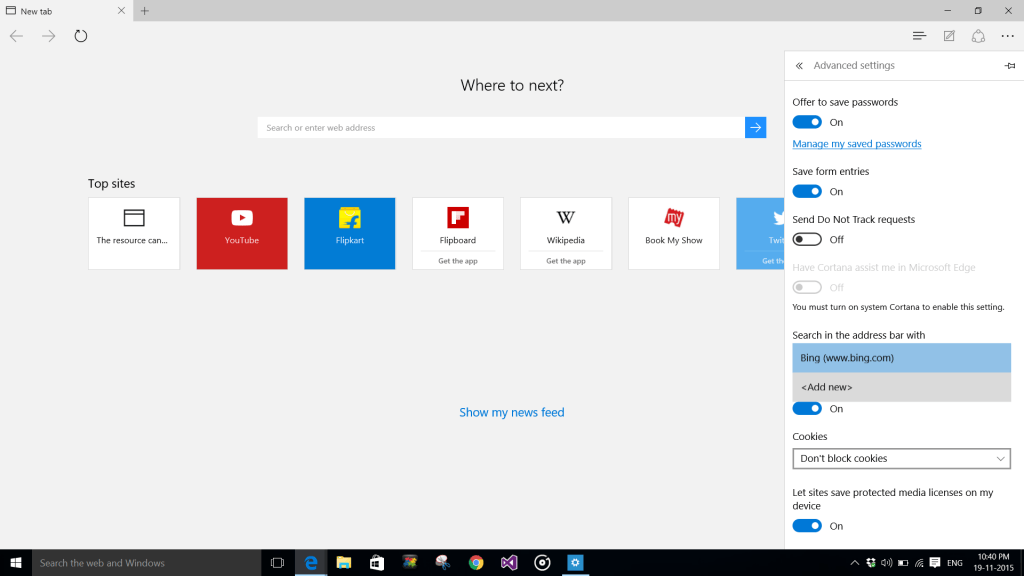 Search in the address bar with option in Edge