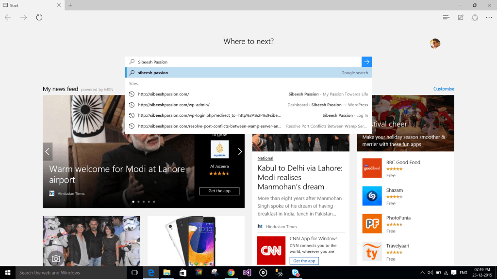 Test browser search result in Windows 10 Edge