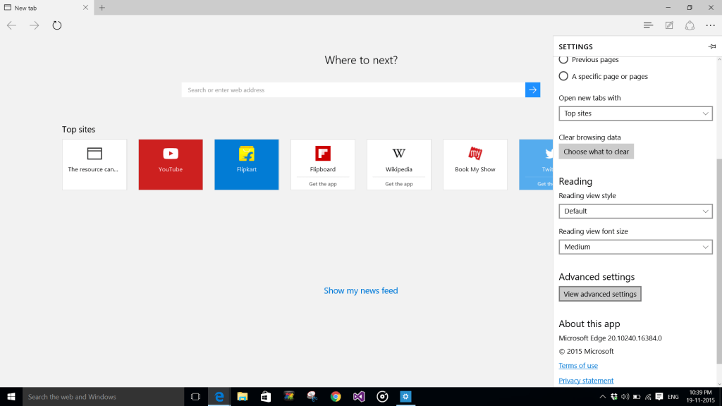 View Advanced Options In Edge Browser