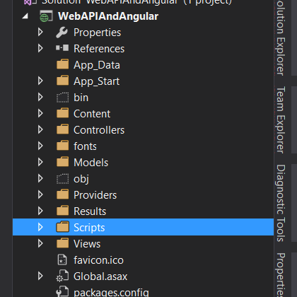 Web API With Angular JS Solution Explorer