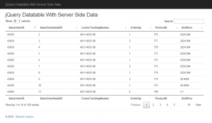 jQuery Datatable With Server Side Data