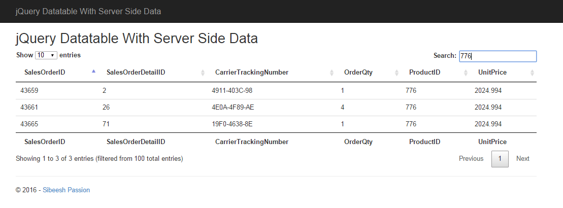 jQuery Datatable With Server Side Data in C#, SQL