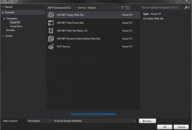 Empty Website In Visual Studio