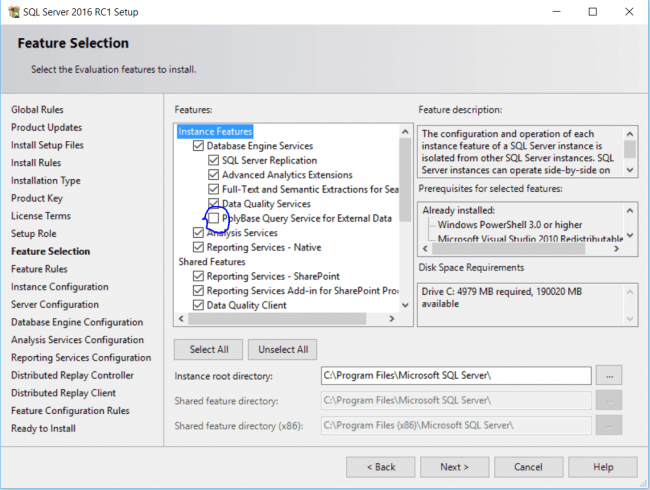 Feature Selection Installation Center SQL Server Uncheck Polybase Query Service