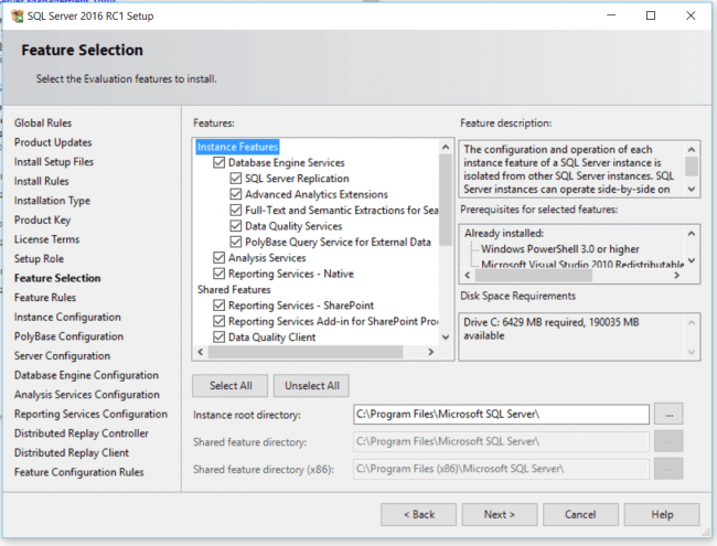 Feature Selection Installation Center SQL Server
