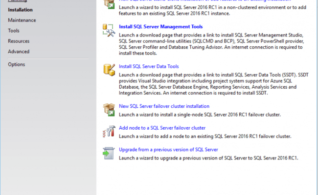 Installation Center SQL Server Start