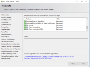 Installation Center SQL Server Success