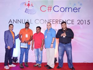 Receiving C# Corner MVP Award from the legends