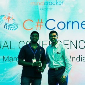 Receiving C# Corner MVP Award from SQL master Vinod Kumar M