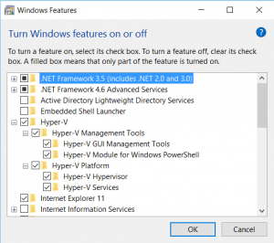 Enable Hyper V in Windows