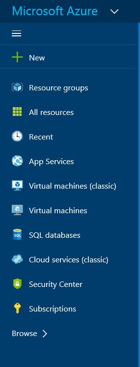 Microsoft Azure Portal Menu