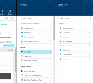 Quick Start Option In Azure Mobile App