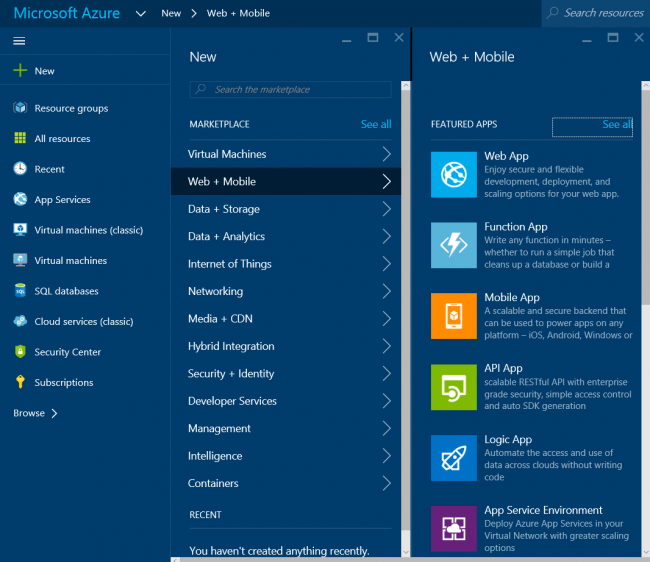 Web Mobile Category In Azure Portal