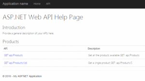 API Help Page With Descriptions