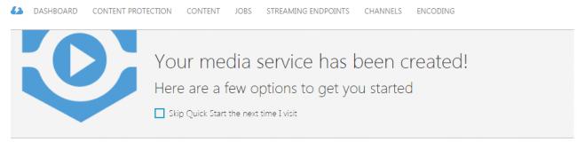 Media Service Created