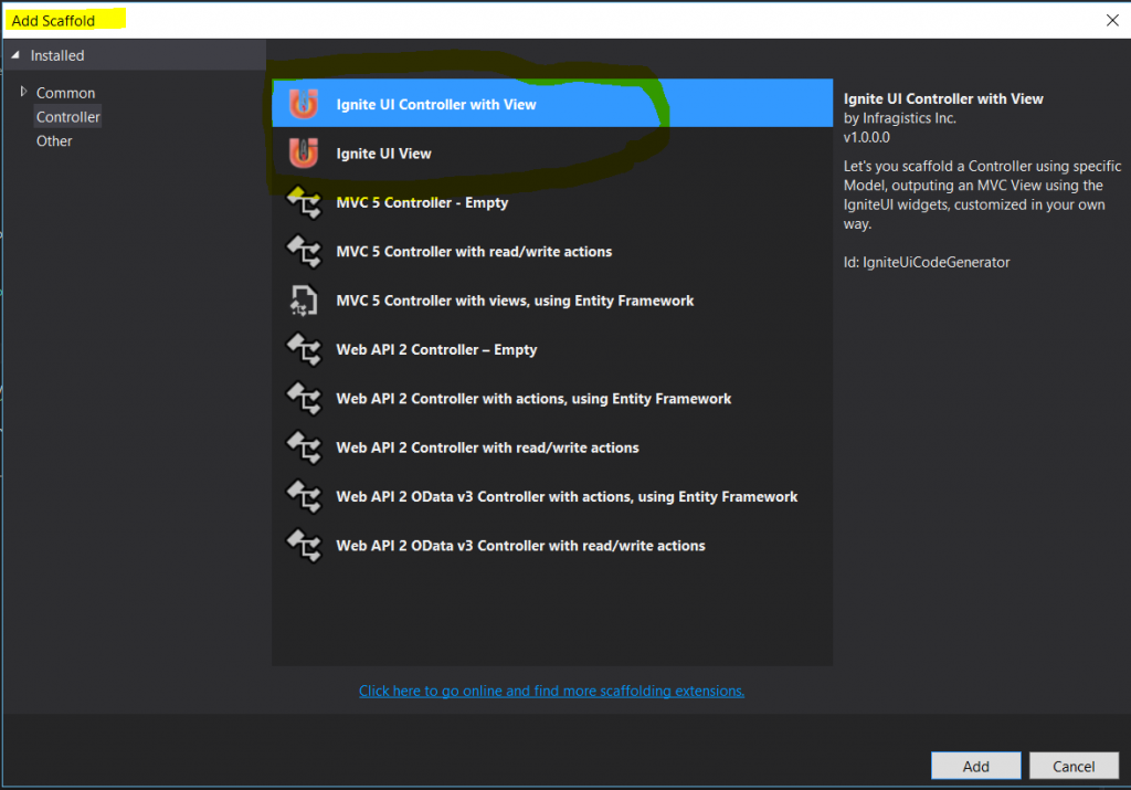 Ignite UI Controlelr With View