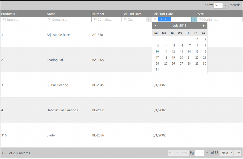 Ignite UI Grid With Only Selected Columns