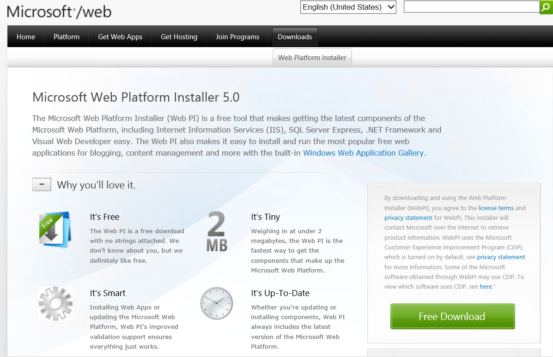 Download Microsoft Web Platform Installer