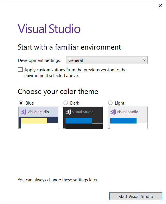 Selecting_theme_in_Visual_Studio_2017
