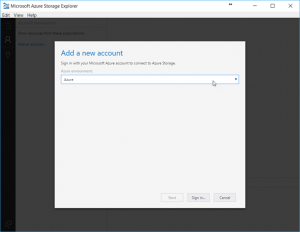 Add Account in Microsoft Azure Storage Explorer