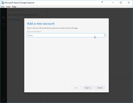 Add Account in Microsoft Azure Storage Explorer