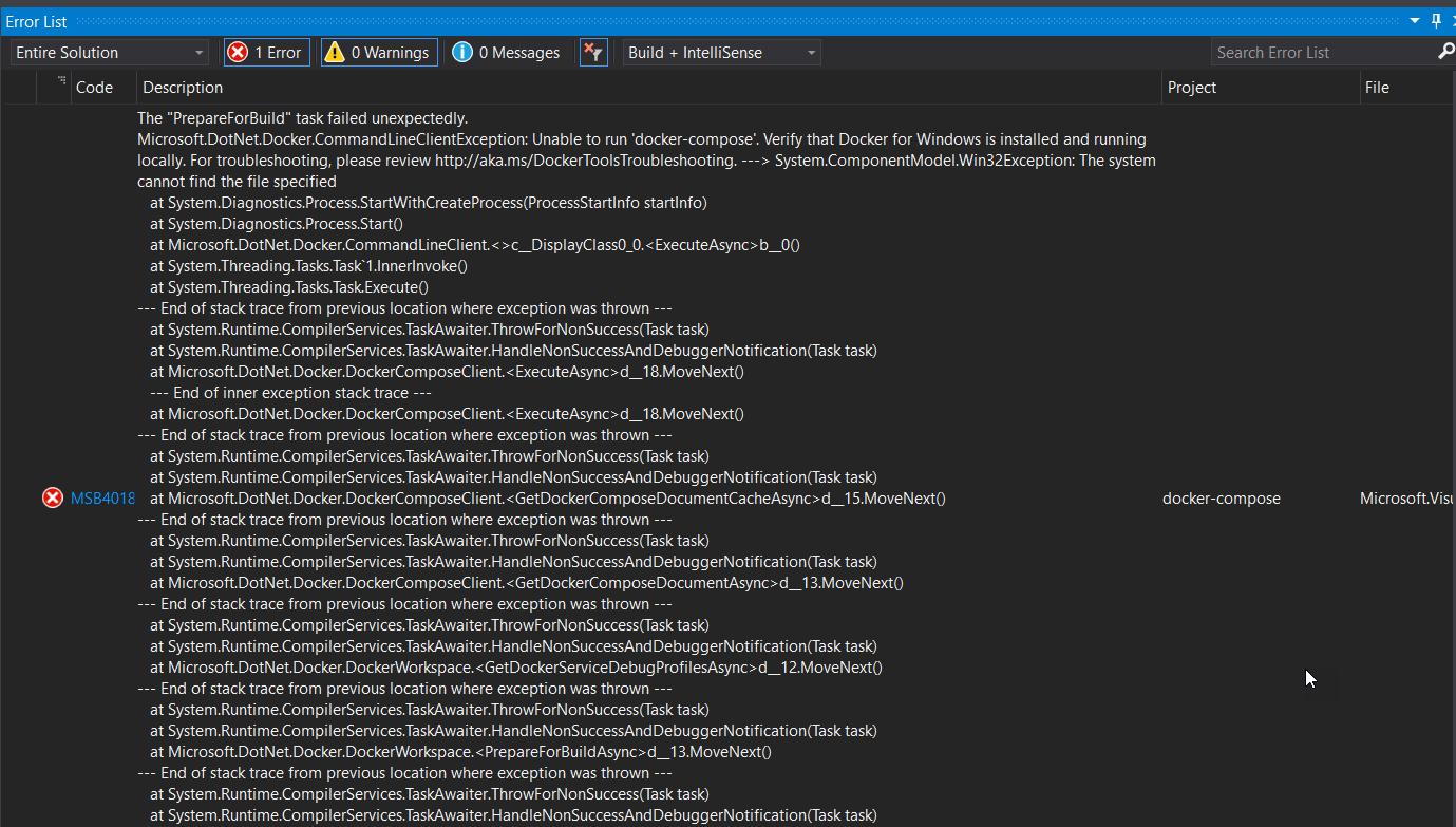 Asp Net Core Docker Error