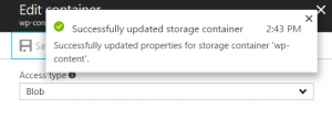 Change the Azure Access Policy to Blob
