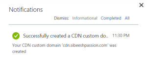 Success Notification Custom Domain CDN