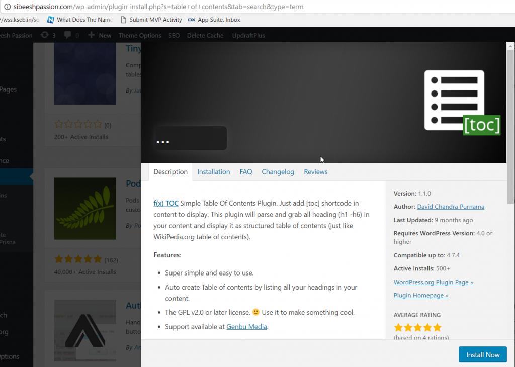 TOC plugin in WordPress