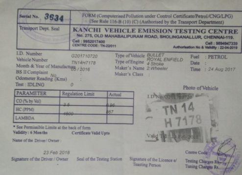 Sample Pollution Certificate