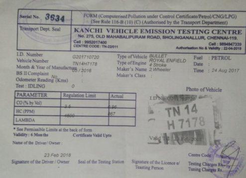Sample Pollution Certificate