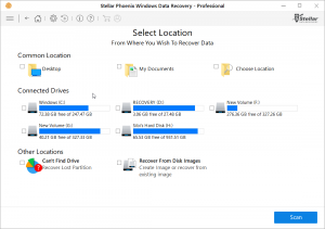 Select location of the files to be recovered